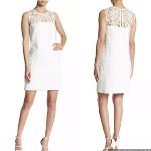 Nanette Lepore Size 10 White Sheath Lace Dress